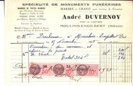 André Duvernoy. Moulins Engilbert. Monuments Funéraires. Marbre Et Granit. 1935. - France