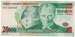 TURCHIA-20,000,000 Turkish Lira-2000 P-215 XF - Turchia