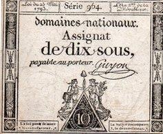 FRANCIA 10 SOLS 1792  P-A68b - ...-1889 Franchi Antichi Circolanti Durante Il XIX Sec.