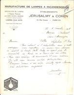 Manufacture De Lampes à Incandescence. Jérusalmy & Cohen. Paris 5°. Philips Argenta. 1928. - France