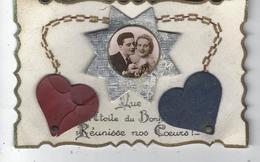 """Belle Carte Fantaisie """" Que L'Etoile Du Bonheur Réunisse Nos Coeurs """" ( étoile , Couple Amoureux , Coeurs Collés ) - Couples"""