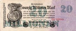 GERMANIA-REICHSBANKNOTE-20 MILLIONEN MARK 1923-UNIFACE - [ 3] 1918-1933 : Repubblica  Di Weimar