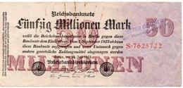 GERMANIA-REICHSBANKNOTE-50 MILLIONEN MARK 1923-UNIFACE - [ 3] 1918-1933 : Repubblica  Di Weimar
