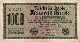 GERMANIA-REICHSBANKNOTE-1000  MARK 1922 - [ 3] 1918-1933 : Weimar Republic