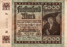 GERMANIA-REICHSBANKNOTE-5000  MARK 1922 - [ 3] 1918-1933 : Repubblica  Di Weimar