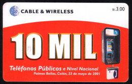 PANAMA PHONECARD C & W 10 MIL 2 CHIP GEM3 USED B/3.00 - Panama