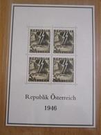1 BLOC DE 4 TIMBRES REPUBLIK OSTERREICH 1946 - Blocs & Feuillets