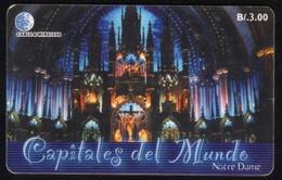 PANAMA PHONECARD C & W CAPITALES DEL MUNDO NOTRE DAME CHIP GEM3 USED B/3.00 - Panamá