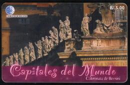 PANAMA PHONECARD C & W CAPITALES DEL MUNDO COLUMNATA DE BERNINI CHIP GEM3 USED B/5.00 - Panama