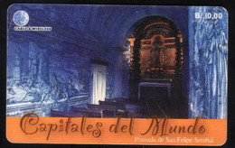 PANAMA PHONECARD C & W CAPITALES DEL MUNDO POUSADA DE SAO FELIPE SETUBAL CHIP GEM3 USED B/10.00 - Panama