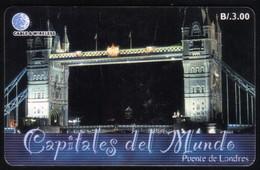 PANAMA PHONECARD C & W CAPITALES DEL MUNDO PUENTE DE LONDRES CHIP GEM3 USED B/3.00 - Panamá