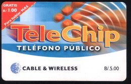 PANAMA PHONECARD C & W TELECHIP  PUBLIC PHONE CHIP GEM3 USED B/5.00 - Panama