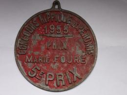 Plaque Ancienne Concours Hippique - Concours Hippique De Péronne 1955 - Prix Marie Fouré - 5e Prix - Equitation