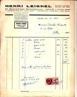 Henri Leignel. Tentures Funèbres. Papiers Peints. Linoléum. Lille. 1946. - France