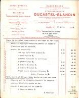 Electricité. Etablissements Ducastel Blandin. Eclairage, Horlogerie électrique Téléphonie Privée. Lille. 1944. - France