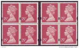 GB 2 X 25p Blocks Of 4 - SG Y1775 - Machin With 2 Phosphor Bands - Printed In Lithography UM/MNH - 1952-.... (Elizabeth II)