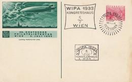 Österreich: 1933: WIPA - Ganzsache Mit Zeppelin Philatelistentag - 1918-1945 1ère République