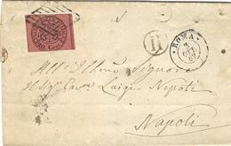 1867- Enveloppe De ROMA Pour Napoli Affr. Sassone N° 18  +  I I  Dans Un Cercle - Poststempel