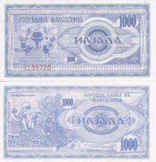 Macedonia P-6  1000 Denar 1992 UNC - Macedonia