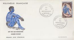 Enveloppe  FDC  1er Jour  POLYNESIE  Art  Des  ILES  MARQUISES   1968 - FDC