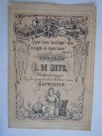 Kaartje 1869 25 Jubileeum L. De Mets Hoofdonderwijzeres Bij De Gemeentescholen Van Antwerpen Form: 8,5 X 12,5 Cm - Historische Documenten