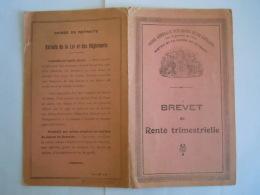 Brevet De Rente Trimestrielle  ASLk CGER Service De La Caisse De Retraite 1940 - Banque & Assurance