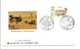 1987 DOCUMENT FDC JOURNEE DU TIMBRE - RIOM PUY DE DOME - FDC
