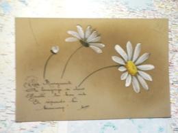 Carte Celluloïd Marguerite Peinte à La Main - Cartes Postales