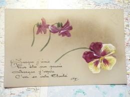 Carte Celluloïd Fleurs Peintes à La Main - Cartes Postales