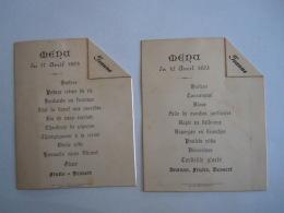 België Belgique 2 Menu Communion 16 17 Avril 1893 Jeanne De Sélys-Longchamps Noblesse Voir Scan Dos 9 X 11,2 - Menus