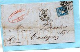 N° 45c Sur Lettre De LYON,G.C. 2145,L.A.C. Du 30/1/71. - 1849-1876: Classic Period