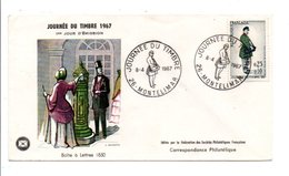 FDC 1967 JOURNEE DU TIMBRE - MONTELIMAR - FDC
