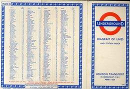 107 LONDRA - 1966 PIANTA DELLA METROPOLITANA , UNDERGROUND , DIAGRAM OF LINES - Disegno Tecnico