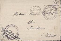 Guerre 39 45 FM CAD Pau Basses Pyrénées 6 III 1944 Armée Armistice Cachet Poste De Guet St Laurent Bretagne Cie 32/72 - Marcophilie (Lettres)