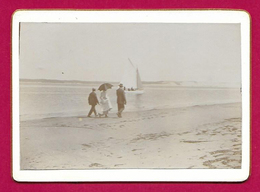 Photographie Ancienne Sur Carton - Bassin D'Arcachon - Promenade Sur La Plage - Lieux