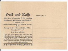 """DT- Reich (003057) Propaganda Bestellkarte Ungebraucht Für Illustrierte Monatsschrift """"Volk Und Waffe"""" - Germany"""