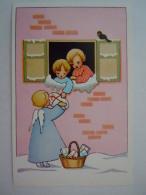 """Dessin 2 Enfants  Ange Cadeau 2 Kindjes Geschenk Engel """"Ave Maria"""" G-8 Impr. LT - Scenes & Landscapes"""