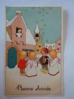 Dessin  2 Enfants Avec Accordeon Et Anges Zingende Kindjes & Engeltjes En Accordeon Coloprint Special 1410 Belgium - Nieuwjaar