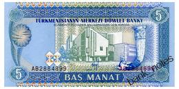 TURKMENISTAN 5 MANAT ND(1993) Pick 2 Unc - Turkménistan