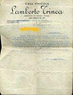 114 MARINO 1952 CASA VINICOLA LAMBERTO TRINCA , LETTERA - Italie