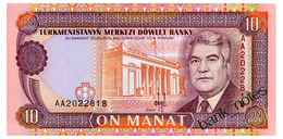 TURKMENISTAN 10 MANAT ND(1993) Pick 3 Unc - Turkménistan