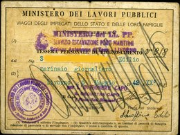 120 MINISTERO DEI LAVORI PUBBLICI  1942 TESSERA DI RICONOSCIMENTO , VIAGGI IMPIEGATI E FAMIGLIE - Biglietti Di Trasporto