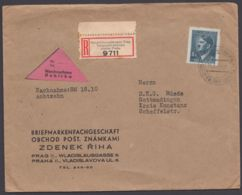 """106, EF Auf R-NN-Brief """"Telegraphenamt Prag"""", 14.1.44 - Böhmen Und Mähren"""