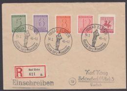 """Lokal Plauen : 5, Dek. MiF Auf R-Brief """"Bad Elster"""" Mit Ankunft - Sowjetische Zone (SBZ)"""