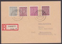 """131x, 133x, 136/7x, Dek. Mif, R-Karte """"Leipzig"""", 4.3.46, Mit Ankunft - Sowjetische Zone (SBZ)"""