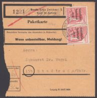 """193, MeF Mit 2 Werten Auf Paketkarte """"Reuth, Kr.Zwickau"""" - Sowjetische Zone (SBZ)"""