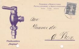 No 138II Sur Carte De La Fonderie & Robinetterie Metallgiesserei & Armaturenfabrik, LYSS- Flushomtère Neptun - 1 - Lettres & Documents