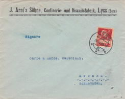 No 158 Sur Lettre De J.Arni's Söhne, Confiserie Und Biscuitsfabrik, LYSS, Oblitérée Le 26.IV.1926, Pour Mesoco - Suisse