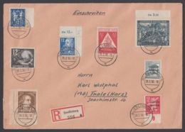 """235 DZ U.a., Dek. MiF Auf R-Brief """"Quedlinburg"""", 28.2.50 - Sowjetische Zone (SBZ)"""