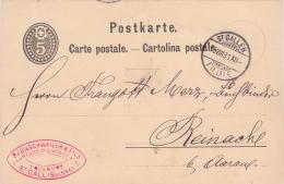 Entier Postal De Brunschweiler & Fils, Fabrique D'encre, St.Gall, Oblitérée Le 15.VIII.1881 - Entiers Postaux